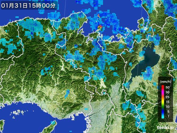 京都府の雨雲レーダー(2015年01月31日)