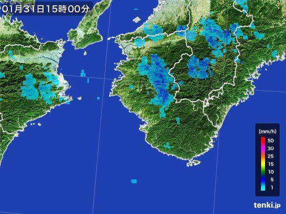 和歌山県の雨雲レーダー(2015年01月31日)