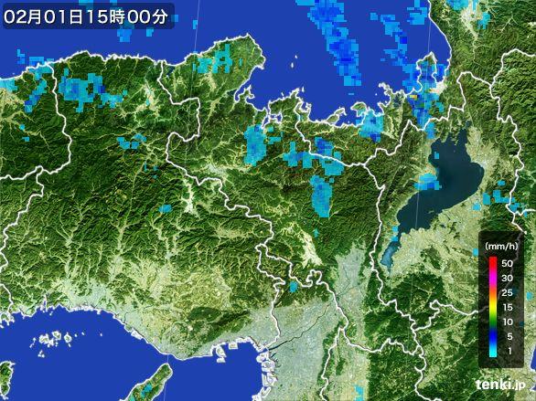 京都府の雨雲レーダー(2015年02月01日)