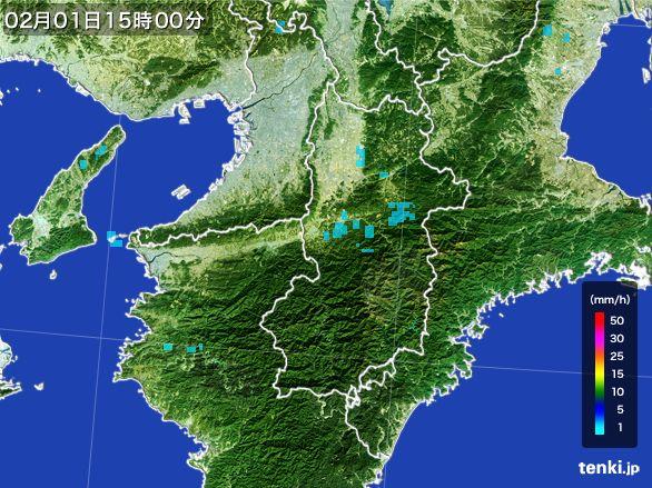 奈良県の雨雲レーダー(2015年02月01日)