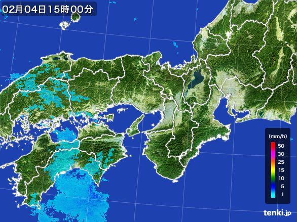 近畿地方の雨雲レーダー(2015年02月04日)