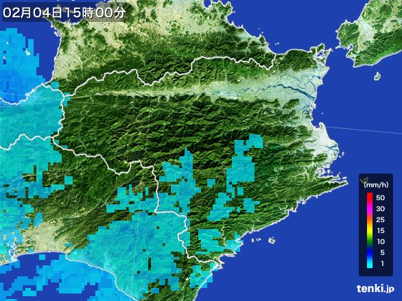 徳島県の雨雲レーダー(2015年02月04日)