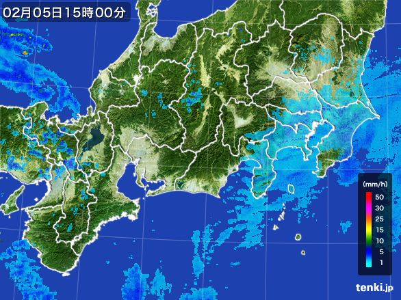 東海地方の雨雲レーダー(2015年02月05日)