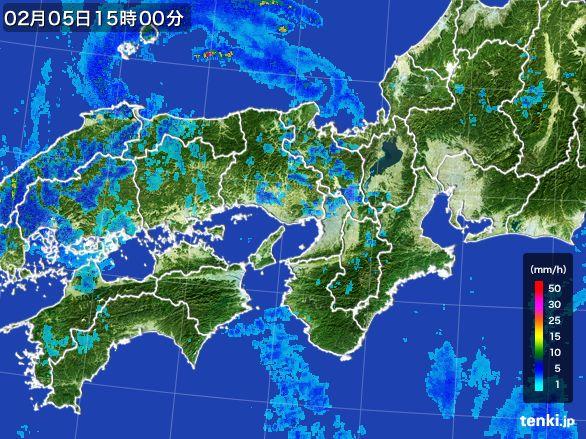 近畿地方の雨雲レーダー(2015年02月05日)