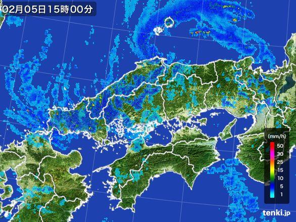 中国地方の雨雲レーダー(2015年02月05日)