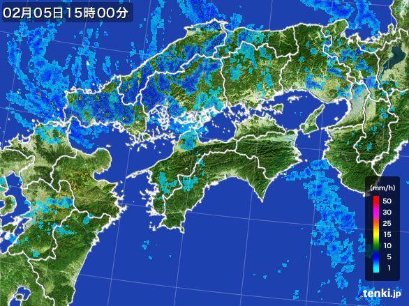 四国地方の雨雲レーダー(2015年02月05日)