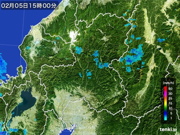 岐阜県の雨雲レーダー(2015年02月05日)