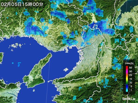 大阪府の雨雲レーダー(2015年02月05日)