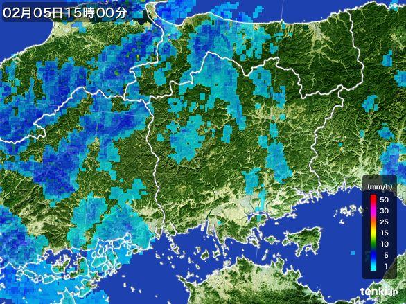 岡山県の雨雲レーダー(2015年02月05日)