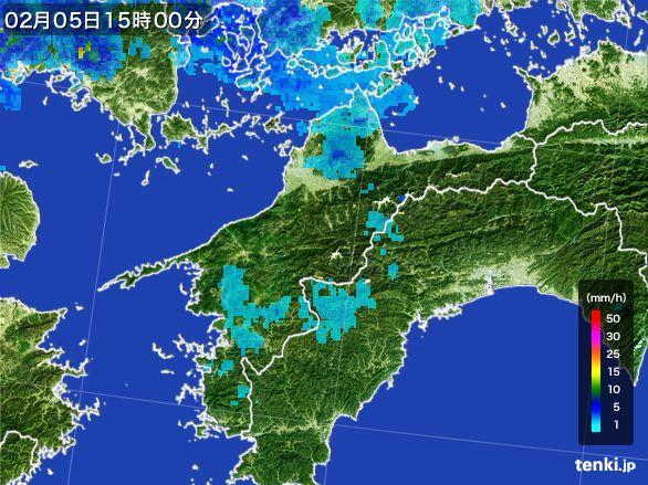 愛媛県の雨雲レーダー(2015年02月05日)