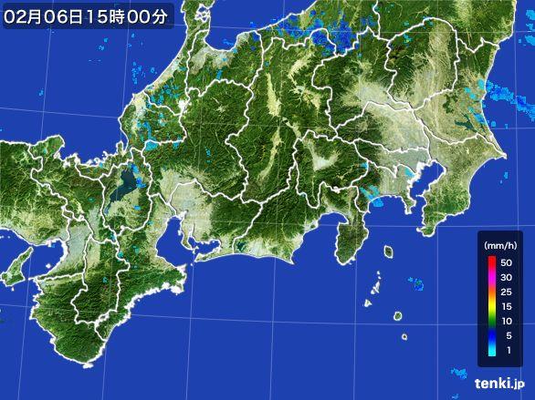 東海地方の雨雲レーダー(2015年02月06日)