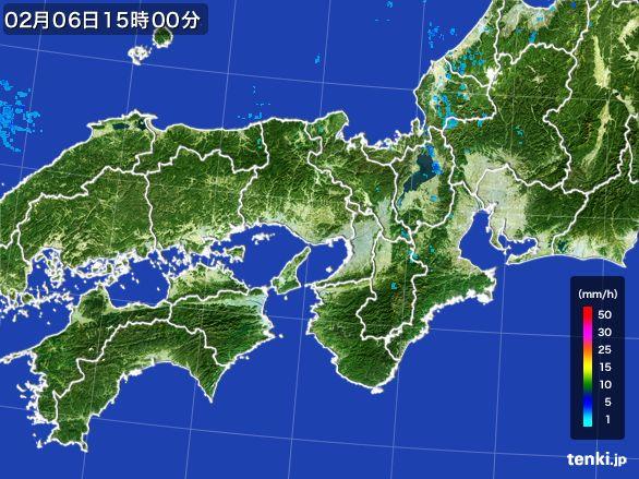 近畿地方の雨雲レーダー(2015年02月06日)