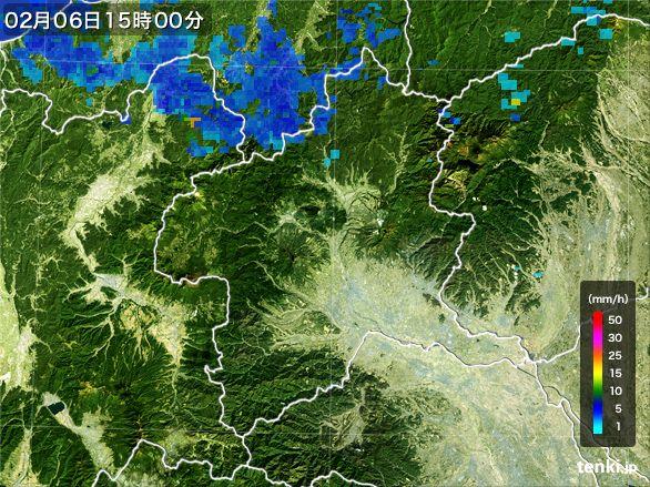 群馬県の雨雲レーダー(2015年02月06日)