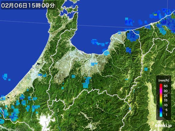 富山県の雨雲レーダー(2015年02月06日)