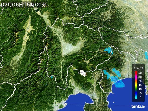 山梨県の雨雲の動き(2015年02月06日)