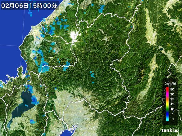 岐阜県の雨雲レーダー(2015年02月06日)