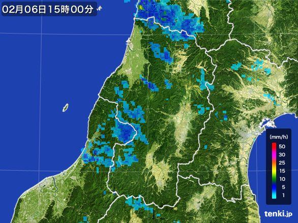 山形県の雨雲レーダー(2015年02月06日)