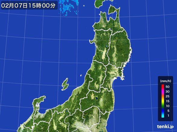 東北地方の雨雲レーダー(2015年02月07日)