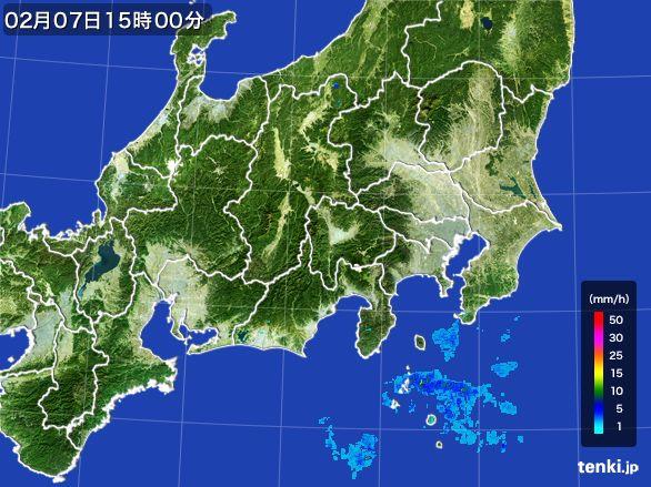 関東・甲信地方の雨雲レーダー(2015年02月07日)