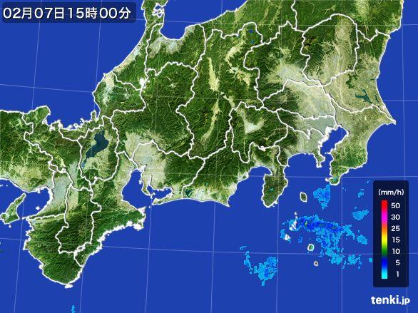 東海地方の雨雲レーダー(2015年02月07日)