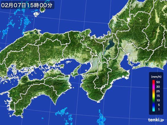 近畿地方の雨雲レーダー(2015年02月07日)