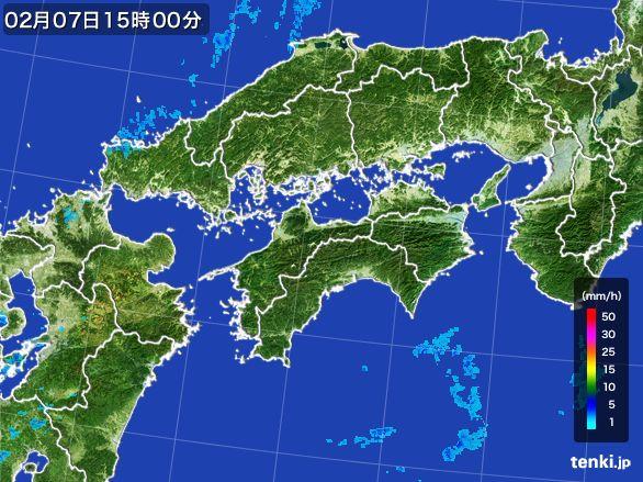 四国地方の雨雲レーダー(2015年02月07日)