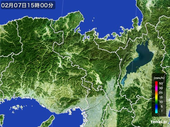 京都府の雨雲レーダー(2015年02月07日)