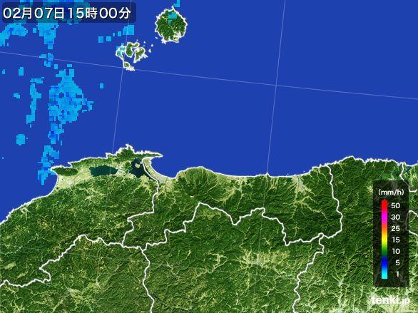 鳥取県の雨雲レーダー(2015年02月07日)