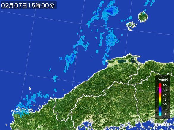 島根県の雨雲レーダー(2015年02月07日)