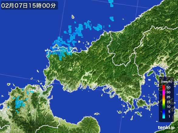 山口県の雨雲レーダー(2015年02月07日)