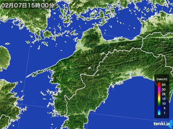 愛媛県の雨雲レーダー(2015年02月07日)