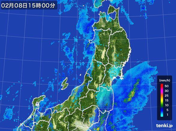 東北地方の雨雲レーダー(2015年02月08日)
