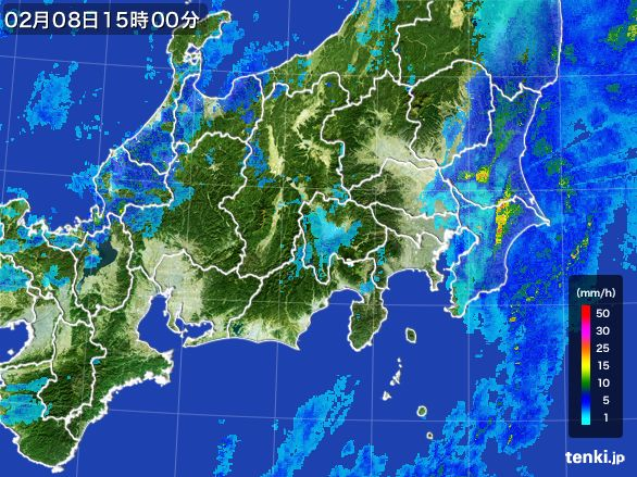 関東・甲信地方の雨雲レーダー(2015年02月08日)