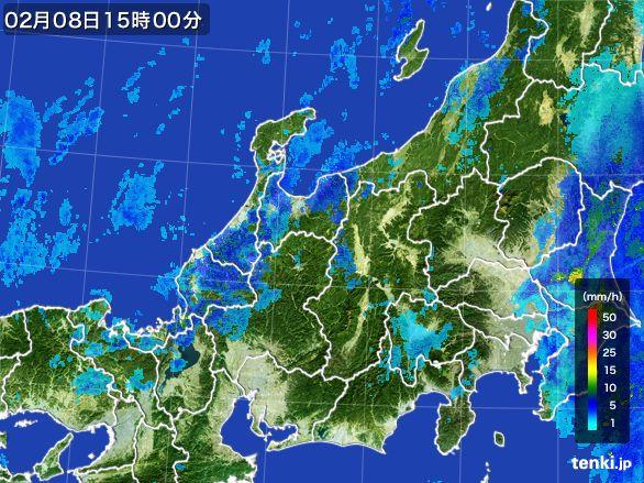 北陸地方の雨雲レーダー(2015年02月08日)