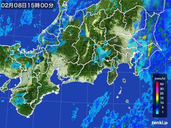 東海地方の雨雲レーダー(2015年02月08日)