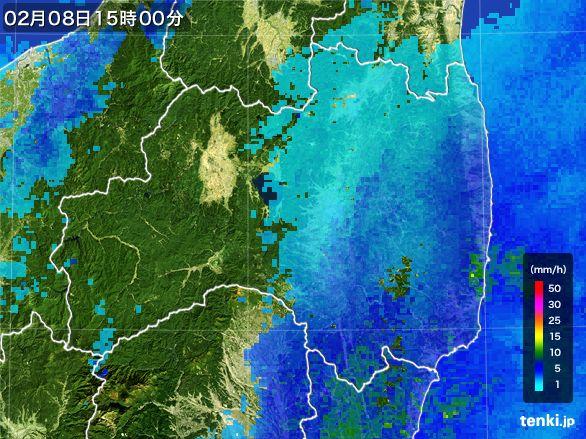 福島県の雨雲レーダー(2015年02月08日)