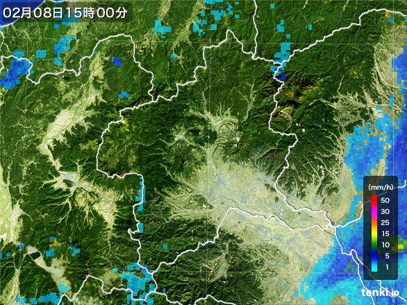 群馬県の雨雲レーダー(2015年02月08日)