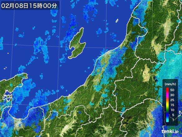 新潟県の雨雲レーダー(2015年02月08日)
