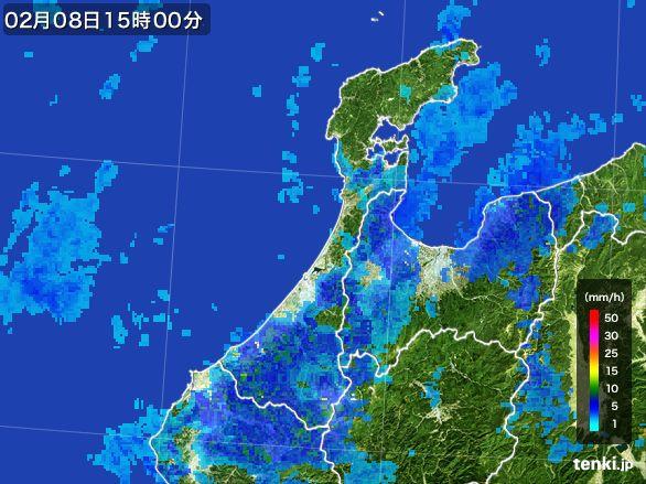 石川県の雨雲レーダー(2015年02月08日)