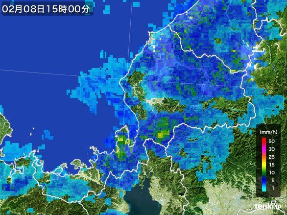 福井県の雨雲レーダー(2015年02月08日)