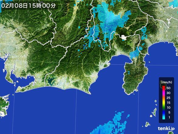 静岡県の雨雲レーダー(2015年02月08日)