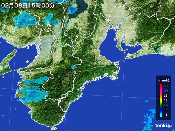 三重県の雨雲レーダー(2015年02月08日)