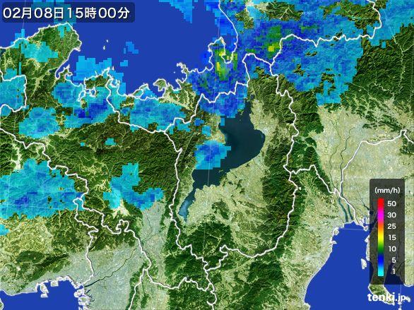 滋賀県の雨雲レーダー(2015年02月08日)