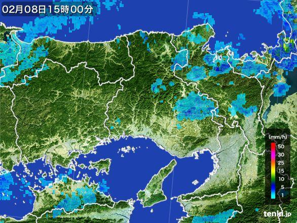 兵庫県の雨雲レーダー(2015年02月08日)