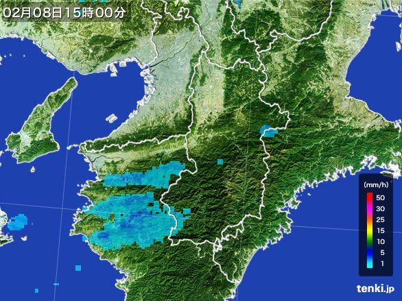 奈良県の雨雲レーダー(2015年02月08日)