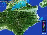 2015年02月08日の徳島県の雨雲の動き