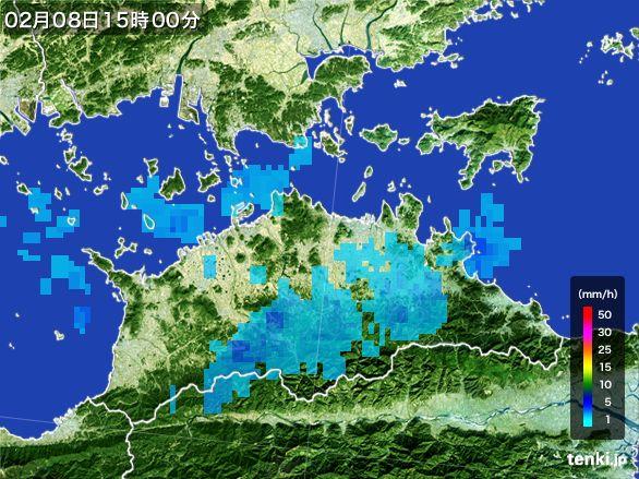 香川県の雨雲レーダー(2015年02月08日)