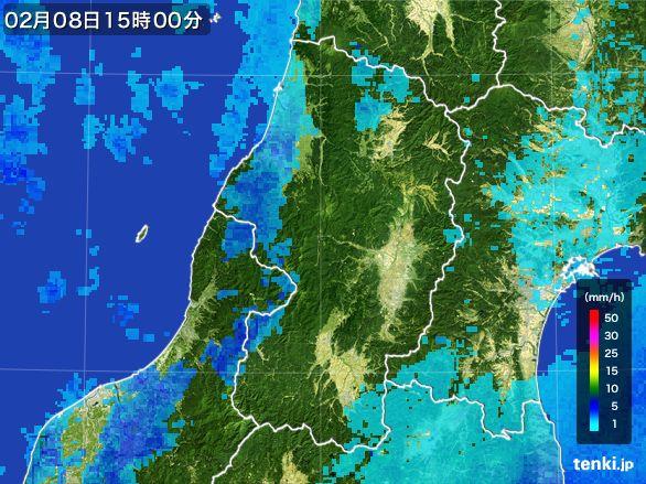 山形県の雨雲レーダー(2015年02月08日)