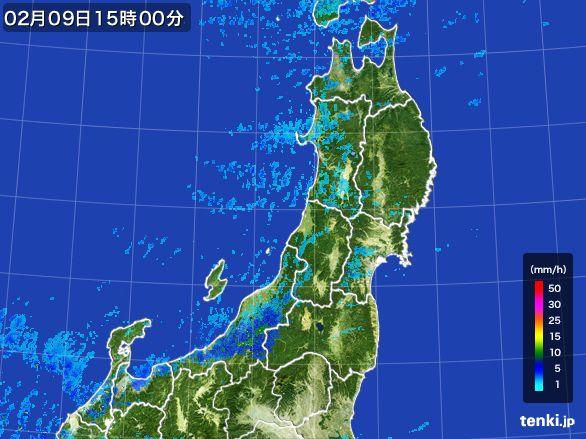 東北地方の雨雲レーダー(2015年02月09日)