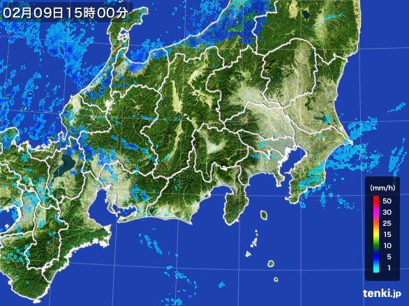 関東・甲信地方の雨雲レーダー(2015年02月09日)